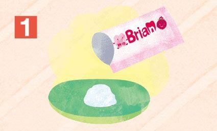 「ブリアンを小皿に出す」イラスト