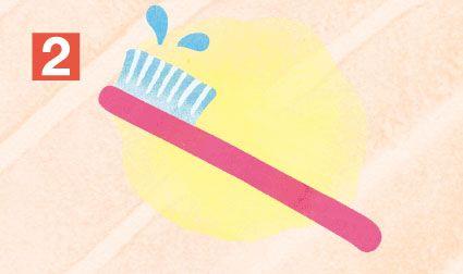 「歯ブラシを水で濡らす」イラスト
