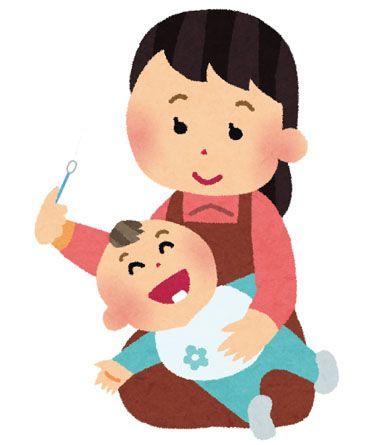 「赤ちゃんを綿棒で歯磨き」イラスト